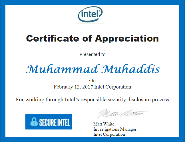 Acknowledged By Intel
